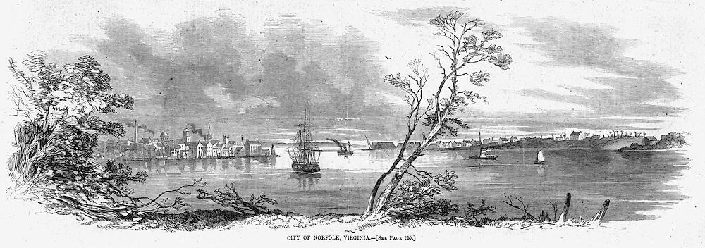 Civil War Norfolk, Virginia.Harper's Weekley April 19, 1862.page 244