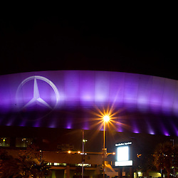 December 12, 2011; New Orleans, LA, USA; A night-time general view outside the Mercedes-Benz Superdome. The Superdome home of the New Orleans Saints will play host to the BCS Championship game and NCAA Final Four in 2012 and Super Bowl XLVII in 2013.  Mandatory Credit: Derick E. Hingle-US PRESSWIRE