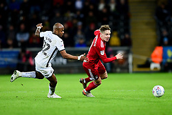 Andre Ayew of Swansea City challenges Stefan Johansen of Fulham - Mandatory by-line: Ryan Hiscott/JMP - 29/11/2019 - FOOTBALL - Liberty Stadium - Swansea, England - Swansea City v Fulham - Sky Bet Championship