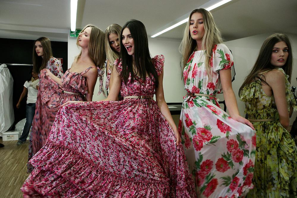 Milan, Italy, September 23, 2010. Backstage at D&G during the Milan Women's Fashion Week Spring/Summer 2011.