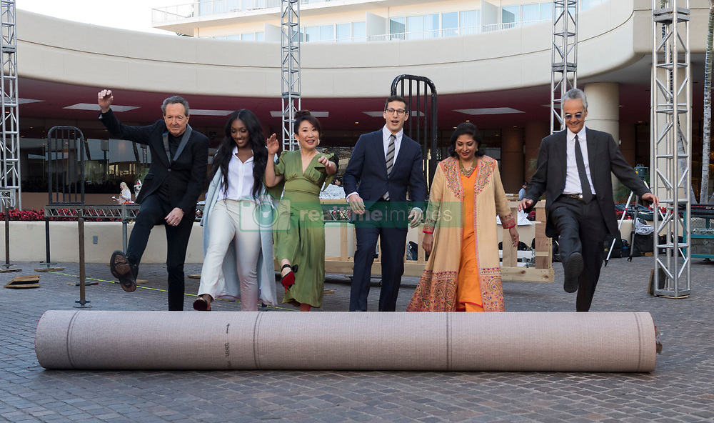 Barry Adelman, Isan Elba, Sandra Oh, Andy Samberg and Allen Shapiro at the rollout of the Red Carpet for the Golden Globe Awards 2019 at the Beverly Hilton Hotel in Beverly Hills, CA. January 3, 2019