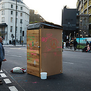 Pop-up toilet in Marble Arch. For up to ten days Extinction Rebellion activists occupied Waterloo Bridge, Parliament Square, Oxford Circus and Marble Arch disrupting traffic and 'normal life'. More than a thousand people were arrested before the police finally cleared the street and the International Rebellion was called to halt by the activists.  The environmental protest group Extinction Rebellion has called for civil disobedience and peaceful protest to force the British government to take drastic action on climate change. The group wants the government to tell the truth and admit that the impact of climate change is much more severe than they say and that action to mitigate catastrophic climate change is urgent.