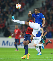 LILLE, FRANCE - Thursday, October 23, 2014: Everton's Sylvain Distin in action against Lille OSC during the UEFA Europa League Group H match at Stade Pierre-Mauroy. (Pic by David Rawcliffe/Propaganda)