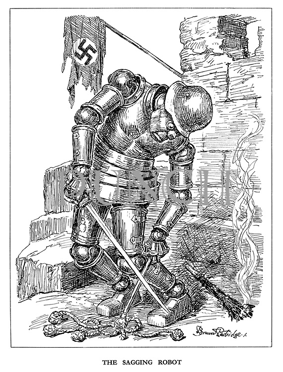 The Sagging Robot. (the Nazi Robot is drooping at his fortress and has dropped his torch and cat-o-nine-tails as the Nazi flag is in tatters)