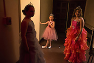 (Gabe Green | The Daily World)<br /> <br /> Raindrop Princesses wait back stage during an intermission in Friday&rsquo;s Miss Grays Harbor Outstanding Teen pageant.