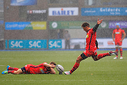 Gavin Henson of Bristol Rugby kicks a penalty as conditions deteriorate - Mandatory by-line: Ian Smith/JMP - 20/08/2016 - RUGBY - BT Sport Cardiff Arms Park - Cardiff, Wales - Cardiff Blues v Bristol Rugby - Pre-season friendly