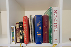 Copies of The Koran inside Ibn Rushd-Goethe mosque in St Johannis Church in Berlin. Founded by Seyran Ateş, it is a liberal mosque open to both men and women.