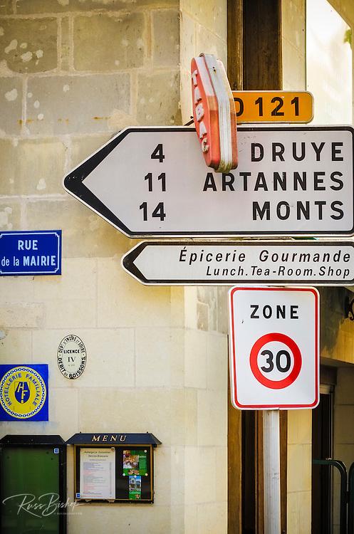 Street corner and sign, Villandry, France