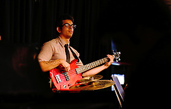 Marc Harper plays the bass with the PLU Jazz Ensemble at Tula's Jazz Club in Seattle on Sunday, May 3, 2015. (Photo: John Froschauer/PLU)