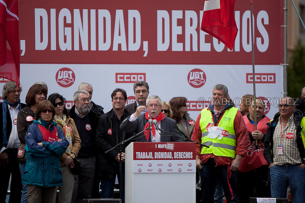 Secretary General of Comisiones Obreras trade union (CCOO) Ignacio Fernandez Toxo speaks during a protest against the economic policies of the Spanish government during May Day in Madrid on May 1, 2012. Trade Unions CCOO and UGT have called for continues demonstrations against the severe austerity plans of the Spanish government. This month unemployment has reached a record rate and the government has announced that immigrants with no legal status will not be covered by the health public services. The government aims to get the deficit down to 5.3 percent this year and 3.0 percent in 2013.
