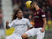Dundee&rsquo;s Yordi Teijsse and Hearts&rsquo; Igor Rossi - Hearts v Dundee, Ladbrokes Scottish Premiership at Tynecastle, Edinburgh. Photo: David Young<br /> <br />  - &copy; David Young - www.davidyoungphoto.co.uk - email: davidyoungphoto@gmail.com