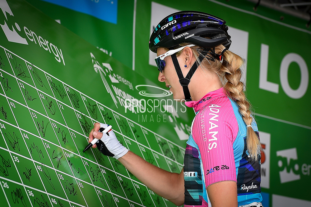 Hannah Barnes (GBR) riding for Canyon/SRAM Racing signs-on during the OVO Energy Women's Tour, London Stage, at Regent Street, London, United Kingdom on 11 June 2017. Photo by Martin Cole.