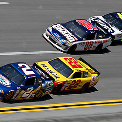 April 17, 2011; Talladega, AL, USA; NASCAR Sprint Cup Series driver Brad Keselowski (2) leads Kurt Busch (22), Dale Earnhardt Jr. (88) and Jimmie Johnson (48) during the Aarons 499 at Talladega Superspeedway.   Mandatory Credit: Derick E. Hingle
