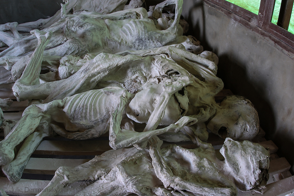 Mummified bodies on display at the Murambi Genocide Memorial Centre, at the site of the former Murambi Technical School where some 45,000 Tutsi were murdered  during the Rwandan Genocide.