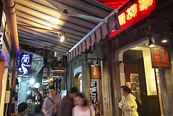 Night in Tianzifang entertainment and shopping district on Taikang Road in Shanghai China