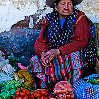 Cusco , Peru - May 27 : Peruvian woman in a market in Cusco Peru , May 27 2011