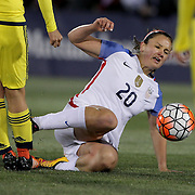 Lindsey Horan, USA, in action during the USA Vs Colombia, Women's International friendly football match at the Pratt & Whitney Stadium, East Hartford, Connecticut, USA. 6th April 2016. Photo Tim Clayton
