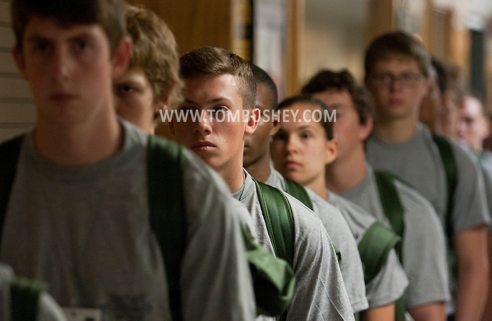 West Point, New York - Cadet candidates line up at the United States Military Academy at West Point for Reception Day on July 2, 2014. About 1,200 cadet candidates, the West Point Class of 2018, reported to the academy to begin their military careers by getting lessons in marching, military courtesy and discipline.