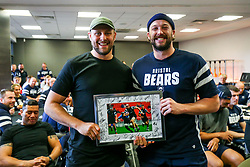 Nick Haining thanks Joe Latta as the Bristol Bears squad gather to make presentations to departing players after the Bristol Bears Team Run ahead of the Sale Sharks Game - Rogan/JMP - 02/05/2019 - RUGBY UNION - Ashton Gate Stadium - Bristol, England - Bristol Bears v Sale Sharks - Gallagher Premiership Rugby.