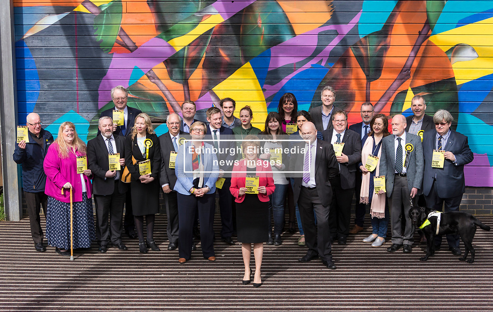 Scottish National Party leader, Nicola Sturgeon, joins Council candidates in Edinburgh to launch the SNP's manifesto for the 2017 Local Government election.<br /> <br /> <br /> Pictured: First Minister, Nicola Sturgeon with Council Election candidates