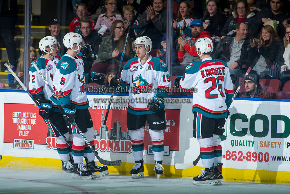 KELOWNA, CANADA - NOVEMBER 11: Dillon Dube #19 of the Kelowna Rockets celebrates a first period goal against the Red Deer Rebels on November 11, 2017 at Prospera Place in Kelowna, British Columbia, Canada.  (Photo by Marissa Baecker/Shoot the Breeze)  *** Local Caption ***