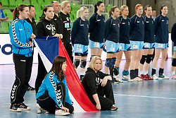 Young girls of RK Krim Mercator during handball match between Women National Teams of Slovenia and Czech Republic of 4th Round of EURO 2012 Qualifications, on March 25, 2012, in Arena Stozice, Ljubljana, Slovenia. (Photo by Urban Urbanc / Sportida.com)