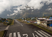 The steep tarmac airstrip at Lukla Airport, in the Mount Everest region of Nepal