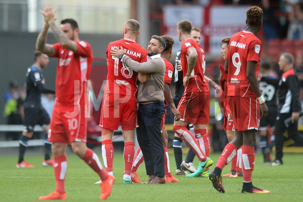 Bristol City head coach Lee Johnson congratulates Aaron Wilbraham - Mandatory by-line: Dougie Allward/JMP - 17/09/2016 - FOOTBALL - Ashton Gate Stadium - Bristol, England - Bristol City v Derby County - Sky Bet Championship