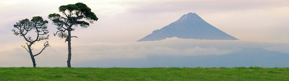 Panoramic view of Mt Taranaki at dusk, North Island, New Zealand.