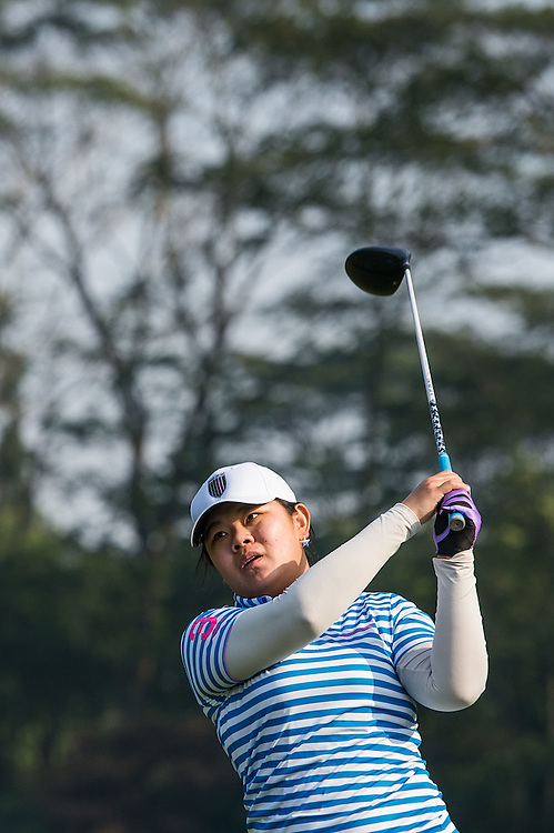 Xinyi He of China in action during day one of the 10th Faldo Series Asia Grand Final at Faldo course in Shenzhen, China. Photo by Xaume Olleros.