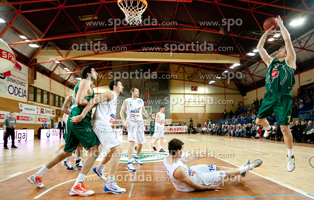 Vladimer Boisa of Olimpija (R) during basketball match between KK Helios Domzale and KK Union Olimpija in Final of Spar Slovenian Cup, on February 13, 2011 in Sportna dvorana Poden, Skofja Loka, Slovenia. (Photo By Vid Ponikvar / Sportida.com)