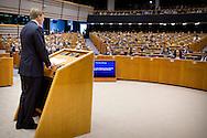 25-5-2016 BRUSSELS - King Willem-Alexander during his speech to the plenary of the European Parliament in Brussels on the occasion of the Dutch presidency of the Council of the European Union. King Willem-Alexander received by Mr. M. Schulz, chairman of the EP's plenary session of the European Parliament in Brussels on the occasion of the Dutch presidency of the Council of the European Union. COPYRIGHT ROBIN UTRECHT<br /> 25-5-2016 BRUSSEL - Koning Willem-Alexander houdt een toespraak voor de plenaire vergadering van het Europees Parlement in Brussel ter gelegenheid van het Nederlands voorzitterschap van de Raad van de Europese Unie . Koning Willem-Alexander wordt ontvangen door de heer M. Schulz, voorzitter van het EP voor de plenaire vergadering van het Europees Parlement in Brussel ter gelegenheid van het Nederlands voorzitterschap van de Raad van de Europese Unie. COPYRIGHT ROBIN UTRECHT