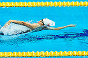 Ashgabat, Turkmenistan - 2017 September 24: Yuru Jiang from People's Republic of China competes in Women's 100m Backstroke Heat 1 while Short Course Swimming competition during 2017 Ashgabat 5th Asian Indoor &amp; Martial Arts Games at Aquatics Centre (AQC) at Ashgabat Olympic Complex on September 24, 2017 in Ashgabat, Turkmenistan.<br /> <br /> Photo by &copy; Adam Nurkiewicz / Laurel Photo Services