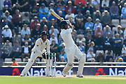 Cheteshwar Pujara of India hits the ball to the boundary for four runs during day two of the fourth SpecSavers International Test Match 2018 match between England and India at the Ageas Bowl, Southampton, United Kingdom on 31 August 2018.