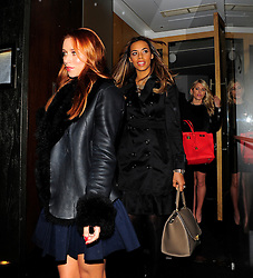 The Saturdays have a rather untraditional Christmas party dinner at Nobu sushi restaurant in Mayfair. Pictured: Una Healy, Rochelle Wiseman and Mollie King. London, UK. 18/12/2013<br />