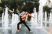 Dancers Jazon Escultura and Alessandra Yrure dance in the Plaza De Cesar Chavez fountain in San Jose, Calif., on Sept. 9, 2012 to promote Escultura's new San Jose-based dance project.  Photo by Stan Olszewski/SOSKIphoto.