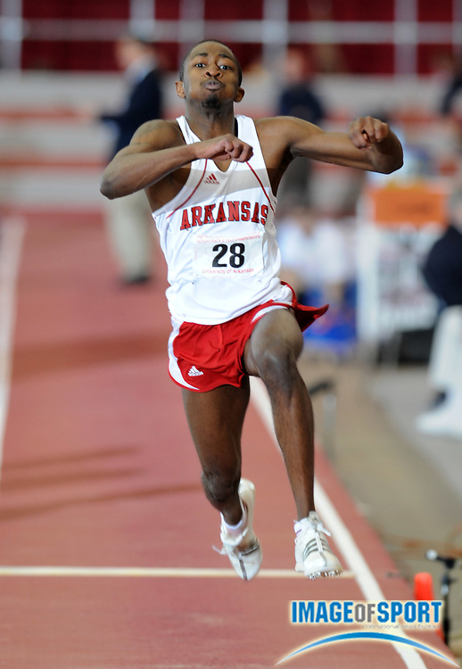 Mar 15, 2008; Fayetteville, AR, USA; Nkosinza Balumbu of Arkansas won the triple jump at 54-3 1/4 (16.54m) in the NCAA indoor track and field championships at the Randal Tyson Center.