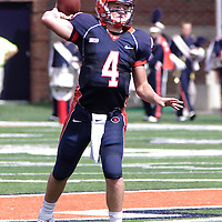 Illinois Reily O'Toole throwing a pass during the Illinois vs Charleston Southern game at Memorial Stadium, Champaign, Illinois, September 15, 2012. George Strohl/AI Wire.