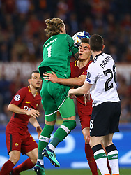 May 2, 2018 - Rome, Lazio, Italy - AS Roma v FC Liverpool - Champions League semi-final second leg.Loris Karius of Liverpool and Patrik Schick of Roma at Olimpico Stadium in Rome, Italy on May 02, 2018. (Credit Image: © Matteo Ciambelli/NurPhoto via ZUMA Press)