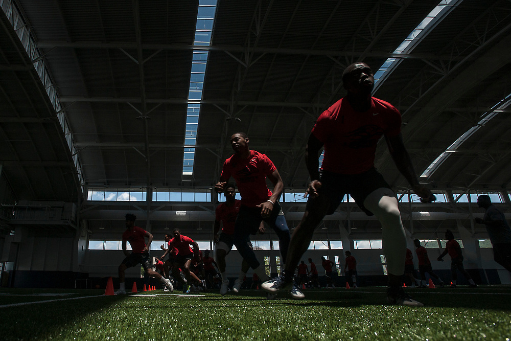 LYNCHBURG, VA - June 21: Liberty University holds it's first practice in the new indoor football facility on Wednesday, June 21, 2017 in Lynchburg, Va. (Photo by Jay Westcott/The News & Advance)