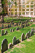 Tombstones in the Granary Burial Ground on the Freedom Trail, Boston, Massachusetts