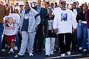 19 JANUARY 2009 -- PHOENIX, AZ: About 500 people marched three miles through Phoenix, Monday Jan. 19, in memory of Dr. Martin Luther King Jr. This year the march also marked Jan 20 inauguration of Barack Obama as the US President.   PHOTO BY JACK KURTZ