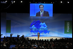The Prime Minister David Cameron  delivering his speech to the Conservative Party Conference in Manchester, Wednesday October 5, 2011. Photo By Andrew Parsons/i-Images