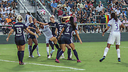 North Carolina Courage midfielder McCall Zerboni (7) attempts to head the ball to score in the final game against Olympique Lyonnais during an International Champions Cup women's soccer game, Sunday, Aug. 18, 2019, in Cary, Olympique Lyonnais bested the North Carolina Courage 1-0 in the finals.  (Brian Villanueva/Image of Sport)