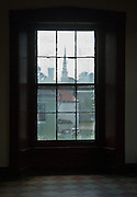 Looking out abandoned classroom of catholic school in downtown Vicksburg Mississippi.