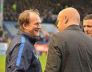 Preston North End Manager, Simon Grayson and Burnely Manager, Sean Dyche greet each other before  the Sky Bet Championship match between Burnley and Preston North End at Turf Moor, Burnley, England on 5 December 2015. Photo by Mark Pollitt.