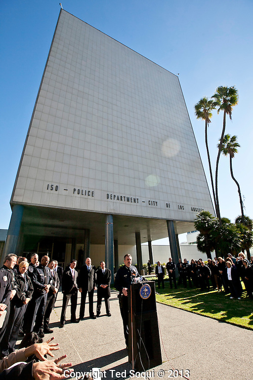 Chief Charlie Beck and members of the police department formally close the Police Administration Building that served as LAPD's headquarters for more than 50 years. Parker Center, 150 N. Los Angeles St.