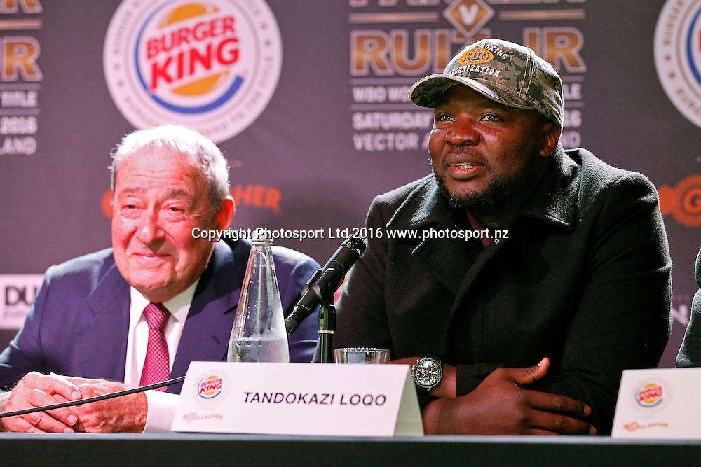 Bob Arum (L) and Ayanda Matiti, Final press conference before the December 10, Parker v Ruiz, WBO world boxing heavyweight title fight. Rec Bar, Auckland. 8 December 2016 / www.photosport.nz