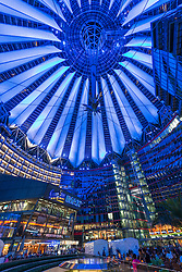 Night view of Sony Center in Berlin Germany