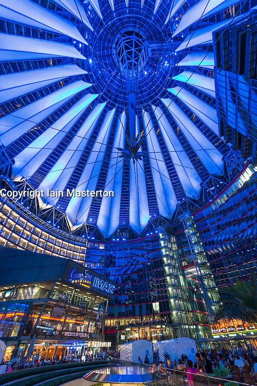 Night view of Sony Center in Berlin Germany